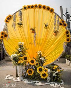 Desi Wedding Decor, Wedding Hall Decorations, Luxury Wedding Decor, Wedding Entrance, Backdrop Decorations, Graduation Decorations, Wedding Ideas, Sunflower Party, Sunflower Wedding Favors