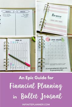An epic guide to set up your bullet journal for finance. Financial planning examples for any financial goals, spending watch, saving, track bills.