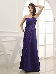 Strapless Satin Bridesmaid Dress with Side Clip - USD $112.00