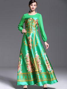 Green Round Neck Long Sleeve Print Dress
