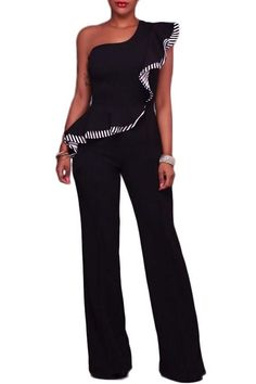 98736dd47bb7 Chic Black One Shoulder Falbala Design Jumpsuits