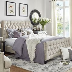 Get inspired by Glam Bedroom Design photo by Wayfair. Wayfair lets you find the designer products in the photo and get ideas from thousands of other Glam Bedroom Design photos. Cozy Room, Home Decor Bedroom, Modern Bedroom, Master Bedroom Design, Upholstered Panel Bed, Master Bedrooms Decor, Cozy Bedroom, Small Bedroom, Farmhouse Master Bedroom