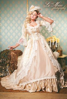 IN STOCK Marie Antoinette or Victorian Fantasy Champagne and Lace Set  Medium/large SALE on Etsy, $750.00