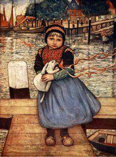Nico Wilhelm Jungmann (1872 – 1935, Dutch), A Girl with a Rabbit