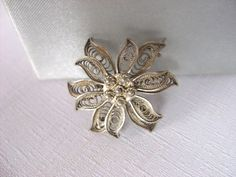 Vintage Sterling Silver Three Dimensional Flower by NGvintagelove, €19.90