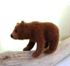 Mama Grizzly Bear Needle Felted Bears Needle Felt by ElisaShine