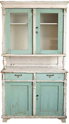 I love this farmhouse style Hutch! I would definitely put this in my house! One Kings Lane Vintage Teal & White Farmhouse-Style china Cabinet #hutch #cabinet #furniture #farmhousefurniture #rustic #ad
