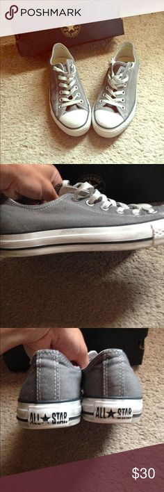Charcoal Chucks On trend: Cute, low cut Charcoal gray Chucks from Converse.  Worn only a few times and can use a little sprucing up with a sneaker cleaner.  Please refer to pictures which indicates some scuffing along the toe and sides.  Traditional canvas body with original laces- no rips or holes to the body of the shoe (rather pristine condition).  Soles are also in excellent condition.  Plenty of wear left in these sneaks!  Size 6 in men's = 8 in women's as traditional Converse sizing…