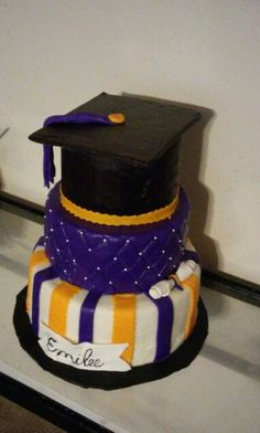 Purple and gold grad cake : congrats Emily on your graduation from high school!!