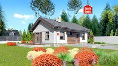 Dom przy Przyjemnej bis. Gotowy projekt domu parterowego, z wiatą garażową. Wykonany w technologii tradycyjnej murowanej, z więźbą o konstrukcji drewnianej. W skład programu użytkowego wchodzą cztery pokoje i jedna łazienka.