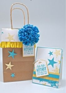 Stampin' Up! Stamping T! - Simply Stars Fringe Gift Bag and Card