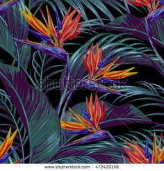Tropical flowers, jungle leaves, bird of paradise flower. Exotic Flowers, Tropical Flowers, Birds Of Paradise Flower, Hair And Beauty Salon, Background Patterns, Printing On Fabric, Garden Design, Plant Leaves, Floral