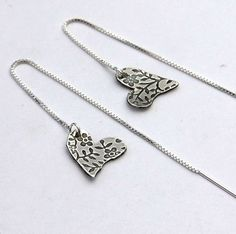 floral textured sterling silver earrings by DesignsbyCaz on Etsy