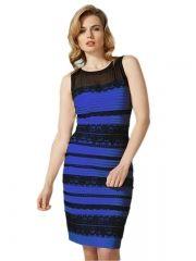 Blue Sleeveless Lace Striped Bodycon Dress