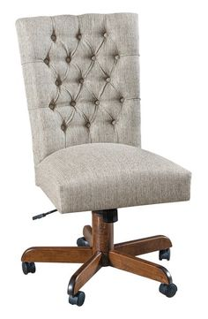 Quick Ship Zellwood Brown Maple Upholstered Desk Chair Transitional style beauty for home office or executive office. Brown maple wood base and choice of finish color and upholstery. Available Quick ship too!