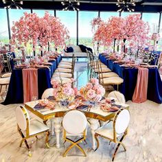 Elegant event planning design. Photo shared by Wholesale Wedding/Event Decor on May 18, 2021 tagging @crowned_wiley. Summer Wedding Decorations, Wedding Centerpieces, Wedding Ideas, Wholesale Tablecloths, Wedding Events, Weddings, Event Planning Design, Navy Blue Color, Chair Covers
