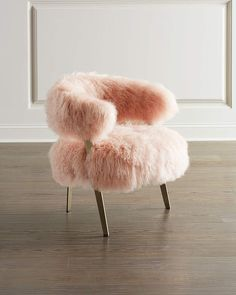 Darcy Blush Sheepskin Chair by Interlude Home at Neiman Marcus My New Room, My Room, Bedroom Chair, Bedroom Decor, Chair Price, Teen Room Decor, Cafe Chairs, Lounge Chairs, Dining Chairs