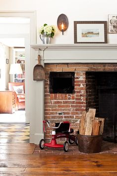 Wood+Brick+Leather. Trim paint is Benjamin Moore Gray Mirage