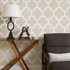 Moroccan Beige PEEL & STICK REPOSITIONABLE Fabric Wallpaper