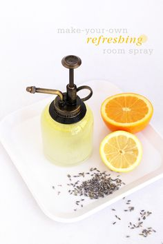1.combine 1/4 cup of unflavored vodka, 40 drops of  orange essential oil, 30 drops of lemon essential oil and 20 drops of lavender essential oil. Whisk together  2. Mix in 1-cup of purified water and pour into clean spray bottle.