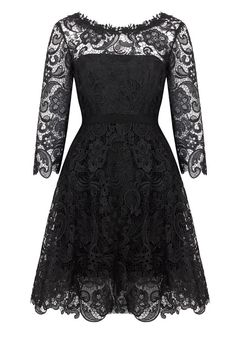 Elegant Black 3/4 Long Sleeve Knee-Length Homecoming Dress Popular Simple Lace Short Women Dresses Under 100