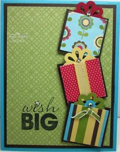cricut cuts for boxes, shadowed.  Nice looking card...can do with squares and top of a flower or something similar.