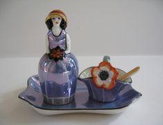 Noritake Art Deco Luster Figural Condiment Set 1920s - charming