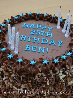 Chocolate birthday cake for boys / guys / men - www.littleicedgems.com