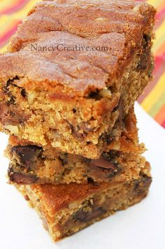 Moist, chunky pumpkin bars chock full of milk chocolate chips. This recipe is adapted from a cookie recipe found over at FoodNetwork.com.