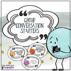 The Group Conversation Starters contains 95 cards, each with a different question to get any conversation started. 5 themes-- Personal Identity (self-esteem), Understanding Behavior (emotional regulation), Building Leaders (Leadership),