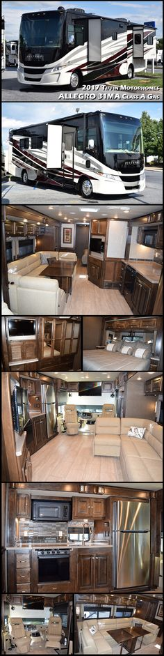 2017 Tiffin Motorhomes ALLEGRO 31MA Class A Gas RV. Tiffin's flagship motorhome has been setting the pace of the RV industry for four decades. Climb aboard and raise your expectation for quality, design, and luxury. Backed by Tiffin's legendary warranty and support, the Allegro is affordable, comfortable, and as customizable as your itinerary.