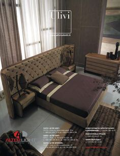 Tanned leather king size bed with upholstered headboard VICTORY by Ulivi Salotti Luxury Bedroom Furniture, Luxury Bedroom Design, Bedroom Bed Design, Bed Furniture, Bedroom Decor, Interior Design, Luxury Bedding, Leather King Size Bed, Upholstered Beds