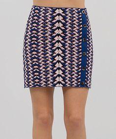 Open Blue Geo Snake Jacquard Skirt