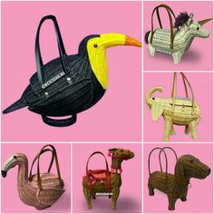 Novelty and figural wicker bags. Handmade Gifts For Her, Handmade Purses, Handmade Handbags, Vintage Purses, Vintage Bags, Fashion Socks, Women's Fashion, Novelty Bags, Animal Bag