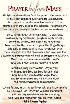 Catholic Holy Cards - prayer before/after mass