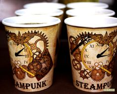 Steampunk Party Cup Holders Print At Home by FrolicParties on Etsy