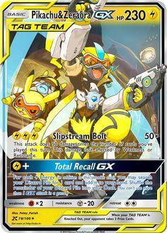 Pikachu & Zeraora GX Tracer Tag Team Custom Overwatch Pokemon Card Pikachu Pikachu, Pokemon Team, Pokemon Eeveelutions, All Pokemon, Charizard, Pokemon Card Memes, Cool Pokemon Cards, Rare Pokemon Cards, Pokemon Trading Card