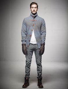 Byron cardigan (baby alpaca wool blend), Clean Jim Jeans. In stores in August 2013.