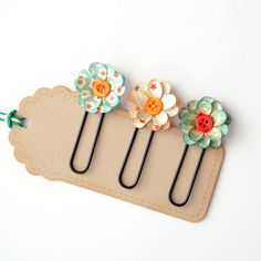 Handmade FLORAL PAPER CLIPS  Bookmarks