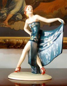 Antique Germany Art Deco Porcelain Lady Figurine Era Galluba Goldscheider RARE | eBay