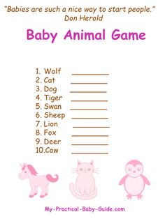 Free Printable #Pink and #Brown #Baby #Shower #Animal #Game. Click for more ideas, tips and free printable Pink and Brown Baby Shower.