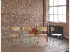 HESTER REDS Wood Red stackable dining chair - HabitatUK