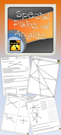 Full lesson pack on complementary, supplementary, and vertical angles- Includes inquiry-based activity as introduction, presentation, printables, and algebra applications