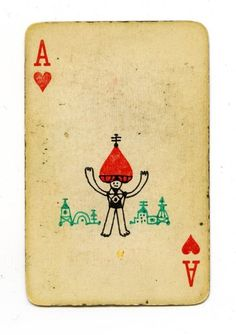 The Ace of Hearts card with a hand drawn portrait of the Ace himself, I suppose? He reminds me of the Amazing Kreskin with that red turban.