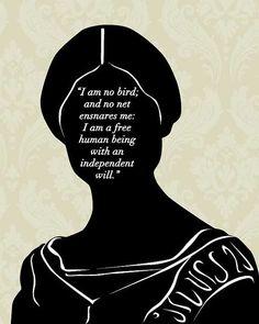 Literary Art Print  Jane Eyre  I Am No Bird  8x10  by 10cameliaway
