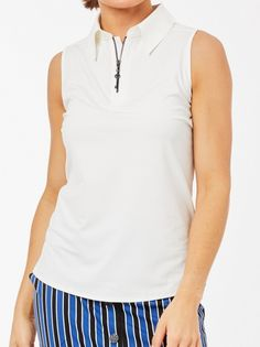 Need new golf apparel? Belyn Key  takes pride in offering women a variety of golf clothing. Buy this ESSENTIALS White Belyn Key Ladies Zip Keystone Sleeveless Golf Polo Shirt today from Lori's Golf Shoppe!