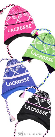Your love of lacrosse does not have to end when the season is over. Rep your sport during the colder months with one of our Girls Lacrosse Fleece Lined Knit Hats. These hats are super comfy and warm and feature soft fleece lining with ear flaps. Create a custom girls lacrosse gift by adding your lacrosse jersey number. LuLaLax.com