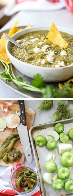 How to Make Salsa Verde - This is the easiest salsa verde with tomatillos and hatch chiles thanks to a roast of the veggies in the oven. So fresh, so good.