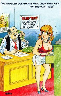 Postcard BAMFORTH Black Triangle Comic Rude Saucy No. 2013 | eBay Funny Cartoon Pictures, Cartoon Jokes, Adult Cartoons, Sexy Cartoons, Funny Adult Memes, Adult Humor, Funny Humour, Funny Postcards, Funny Art