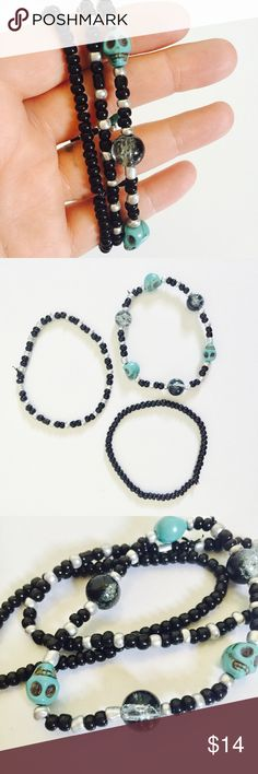 Skull Bracelet Set Handmade Jewelry Glass Beads Skull Bracelet Set. Three handmade stretch Elastic bracelets with high quality turquoise stone skull beads, glass universe beads and black and silver seed beads.  Three sets available. Listing is for one. Adult sizing. Jewelry Bracelets